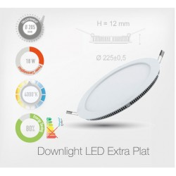 LED Rond Extra-Plat Downlight 18W (Cadre Blanc)